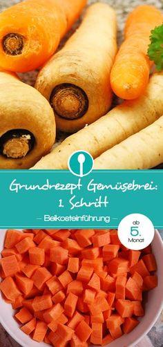Rezept für Gemüsebrei für die Beikosteinführung: Babybrei mit Karotte, Kürbis, Pastinake oder Süßkartoffel für Babys ab dem 5.Monat