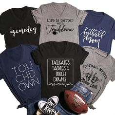 Are you ready for some football? Grab one of these adorable V-neck Bella unisex tees for the big game! Football Sister, Tackle Football, Football Mom Shirts, Football Cheer, Football Season, Sports Shirts, Football Tshirt Designs, Football Moms, Baseball Mom