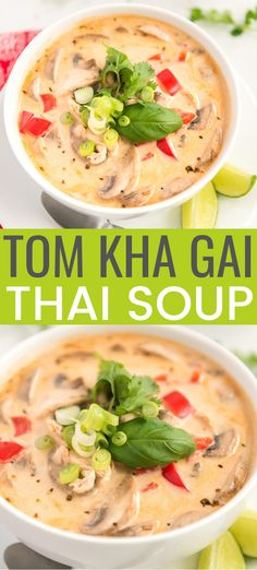This Tom Kha Gai Soup recipe also known as Chicken Coconut Soup is an incredibly aromatic and flavorful Thai dish made with chicken mushrooms peppers in a creamy coconut broth. Chicken Coconut Soup, Coconut Soup Recipes, Thai Coconut Soup, Best Soup Recipes, Chicken Soup Recipes, Healthy Recipes, Soups With Chicken Broth, Keto Recipes, Thai Chicken Soups