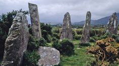 "Ardgroom Stone Circle, Beara Peninsula, County Cork. Overlooking the Kenmare river is the stone circle called ""Canfea,"" or Ardgroom.  Nine stones, from the original 11, still stand. Ardgroom is also known for its huge outlying piper-stone which nears nine feet in height."