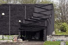 Black No. 99 Theater Made of Straw Bales by Salto Architects, in Skoone Bastion, Tallinn, Estonia. 2012.
