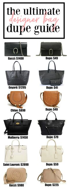 I'll take one of each please! 20+ designer bag dupes!! | Fashion blogger Mash Elle shares a complete designer bag dupe guide! Affordable designer bag dupes for Chloe, Gucci, Goyard, Gucci, Prada, Chanel, Clare V, Saint Laurent, Valentino, Fendi, Burberry, Givenchy and Mulberry!