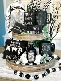 These cute 3d Hocus pocus signs are a perfect addition to your farmhouse and Rae Dunn fall/ Halloween Decor They look great on Tiered trays, shelves, hutches and by themselves. These signs are 3D. Meaning the Wood cut outs are raised. Made in my home and hand painted by me. These are not framed!! Hanging with my witches (5.5x5.5) 3 small word blocks (3.5x2.5)