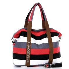 New Korean women's canvas bag Large package color stripes leisure package Handbag 5 colors Oblique shoulder bag #Affiliate