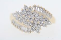 US $469.00 Pre-owned in Jewelry & Watches,14k Yellow Gold 1.15ct Round & Baguette Diamond Cluster Cocktail Ring (G, SI3) Ebay