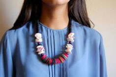 Vintage Statement Necklace  Black and MultiColor by awildtonic, $26.00
