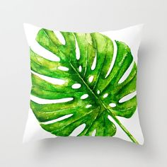 Monstera Leaf Pillow Cover  Tropical Leaf Pillow Cover