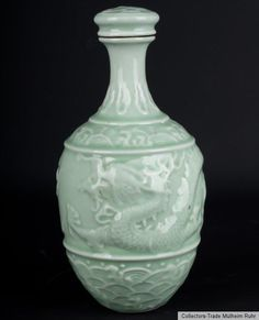 China 20. Jh. Drachen - A Chinese Porcelain Bottle Vase - Vaso Cinese Chinois