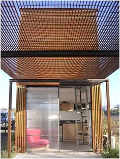 tiny house in Marfa, TX  over head of metal mesh could be interesting for sun protection