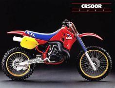 Vintage Motorcycles Vintage Brochures: Honda CR 500 R 1987 (Usa) Honda Dirt Bike, Honda Bikes, Enduro Vintage, Vintage Motocross, Vintage Bikes, Vintage Racing, Classic Honda Motorcycles, Racing Motorcycles, Vintage Motorcycles