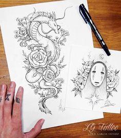 japanese tattoos for women Tattoo Sketches, Tattoo Drawings, Body Art Tattoos, Sleeve Tattoos, Gun Tattoos, Tatoos, Tatuaje Studio Ghibli, Studio Ghibli Tattoo, Miyazaki Tattoo