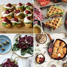 22-07-13 Balsamic Strawberry, Mozzarella & Basil Crostini - Strawberryplum. Fried Chicken and Waffle Sandwiches - The Candid Appetite. Beet Tartare- What's Cooking Good Looking. Rhubarb Blackberry Cobbler with Cornish Clotted Cream - Vikalinka.
