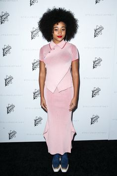 Amandla Stenberg in a bubblegum pink collared maxi dress and platforms at the Stella McCartney party