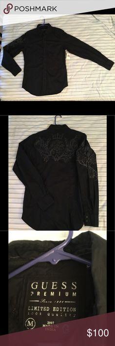 "Guess Premium Black Button Down Shirt Size: Medium | Material: 100% Cotton | Length: 30"" | Width: 21"" | Condition: Brand New | Color: Black | Guess Premium | Limited Edition | Button Down Shirt | Long Sleeve Guess Shirts Casual Button Down Shirts"