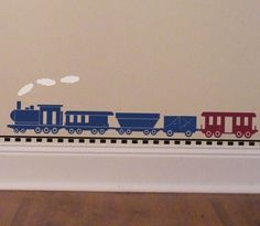 Train Wall Decal decor for boys bedroom with tracks and clouds, locomotive railroad decoration