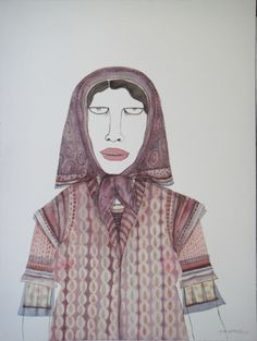 Dhruvi Acharya, Woman in Scarf VIII, Watercolor on Paper, 45 x 30 cm