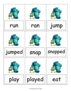 Template from www.kellyskindergarten.com. Students have to match the past and the present tense forms of the verbs featured in the game.**Edite...