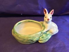 """Vintage Art Pottery Bunny Rabbit on a Cabbage Planter In MINT CONDITION small 3-1/4"""" Tall by 6"""" Long by LilRedsRetroFinds on Etsy"""