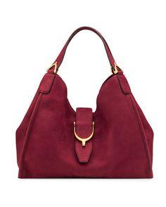 Soft Stirrup Suede Medium Shoulder Bag, Dark Red by Gucci at Bergdorf Goodman.
