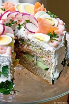 Sandwich Cake -- sandwiches aren't my favorite. Ate too many of them growing up... but I do think this would be a fun party dish.
