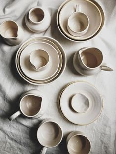Beautiful off-white dishes and kitchenware