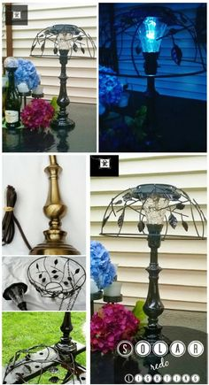 Cut the Cord: Solar Lighting Part Old Brass lamp with cord removed. Solar ligh… – DIY Solar Light Craft Ideas For Home and Garden Lighting Diy Solar, Solar Light Crafts, Solar Lights, Solar Lamp, Solaire Diy, Old Lamps, Brass Lamp, Garden Crafts, Garden Ideas