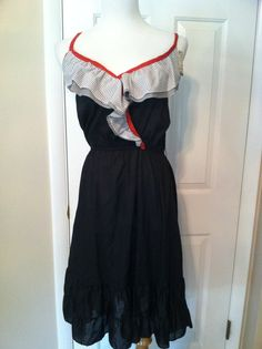 Flirty Polka Dot Ruffle Bodice Black Sundress With by PDeeVintage, $9.25