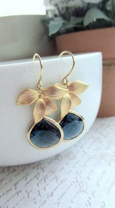 gold plated orchid drops. love!