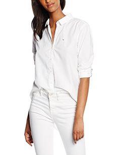 Hilfiger Denim Damen Bluse Thdw Basic Shirt L S 10, Weiß (Classic White 100), 40 (Herstellergröße: L)