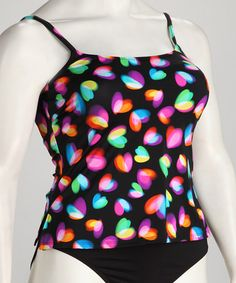 Take a look at this Black & Pink Heart Tankini Top - Women by topanga By T.H.E. on #zulily today!