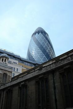 30 St Mary Axe. AKA the Gherkin. 2003. London, England. Sir Norman Foster. 30 St Mary Axe, Foster Partners, Norman Foster, London City, London England, 21st Century, Modern Architecture, The Fosters, Architects