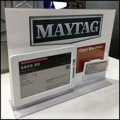 Maytag-Branded Open-Box Sale Sign Electronic Signs, Price Tickets, Retail Fixtures, Famous Names, For Sale Sign, Cool Things To Buy, Appliances, Digital, Box