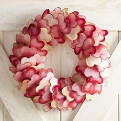 Take a moment to mouse over the photo and discover what's special about our wreath. That's right—you're looking at heart-shaped capiz shells, tinted in reds, pinks and golds and arranged in a wreath ready for your front door, mantel, window or table. Handcrafted exclusively for Pier 1 Imports.