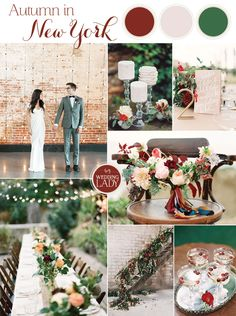 Autumn in New York - Modern Industrial Fall Wedding in Brick and Cranberry Red