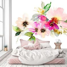 Removable Wallpaper Mural Peel & Stick Flowers Watercolor Illustration by uniQstiQ on Etsy