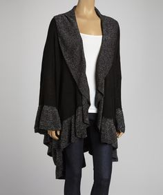 Take a look at this Black & Silver Metallic Ruffle Open Cape by JustJamie on #zulily today!