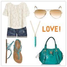vintage denim shorts + lace top w/ a splash of turquoise