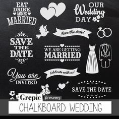 "Clip Art Picutres, Clipart, Clip Art, Chalkboard clipart wedding: Digital clipart ""CHALKBOARD WEDDING"" pack with chalkboard save the date, getting married banners and invitations Chalkboard Clipart, Chalkboard Signs, Chalkboards, Bridal Shower Scrapbook, Wedding Scrapbook, Style Scrapbook, Wedding Album, Wedding Cards, Tafel Clipart"