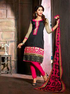 Majesty Black Chanderi Cotton Silk Party Wear Salwer Kameez     http://www.designersareesuite.com/catalog/product/view/id/20871/s/majesty-black-chanderi-cotton-silk-party-wear-salwer-kameez/category/40/#