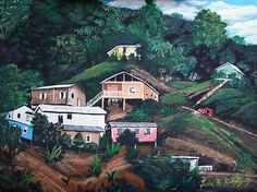 Puerto Rico paint | Puerto Rico Mountain View Painting by Luis F Rodriguez - Puerto Rico ...