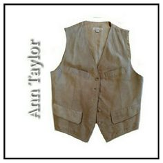 """ANN TAYLOR SZ S BEIGE SUEDE VEST ANN TAYLOR SUEDE VEST 100% LEATHER FULLY LINED 4 FUNCTIONING FRONT POCKETS W/ 4 BUTTONS PIT TO PIT 18"""" PRISTINE CONDITION! PAIR W/COLDWATER CREEK JACKET & SUEDE PANTS FOR A CLASSY LOOK! Ann Taylor Jackets & Coats Vests"""