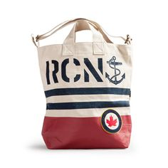 Introducing our Royal Canadian Navy tote! The RCN Tote features nautical stripes and Royal Canadian Navy, Swag Ideas, Nautical Stripes, Pirate Life, Navy Ships, Everyday Bag, Heritage Brands, Reusable Tote Bags
