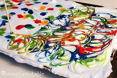 DIY Marbalized Egg Dying with shaving cream