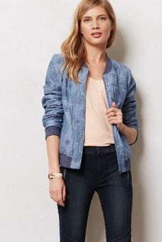 Quilted Chambray Bomber Jacket