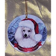 White Poodle Dog Santa Hat Christmas Ornament Porcelain China U.s.a. Giftwh White Christmas Ornaments, Christmas Decorations, Christmas Tree, Holiday Decor, Wings Design, White Feathers, Christmas Animals, Hanging Ornaments, Santa Hat