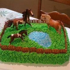 My granddaughter wanted a horse birthday cake and my daughter showed me an example and allowed me to run with it. So this is my version of a horse birthday cake complete with Schlecht brand model horses and a pond. Horse Theme Birthday Party, 8th Birthday Cake, Farm Birthday, Horse Birthday Cakes, Birthday Ideas, Bolo Lego, Farm Cake, Horse Cake, Girl Cakes