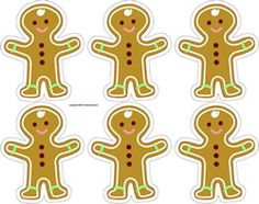 Christmas gingerbread men printable sheet  - make gift wrap, ornaments, gift tags or stickers.