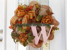 Fall Wreath Autumn Burlap Copper Mesh with Chevron by JennaBelles, $60.00