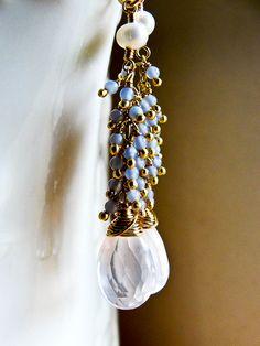 W I S H E S... Rose Quartz, grey chalcedony on gold luxe earrings by CrowandIris