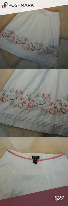 "Rafaella Embroidered A-line Skirt Light & breezy white skirt w/thin cotton lining& hidden side zipper. Lots of lovely details: ribbon waistband edging, tucks ar front & back waistline, colorful embroidered blue birds/flowers/butterflies, rows of pintucks above hem. Flattering cut, beautiful gently worn condition, smoke-free home. 31"" waist, 25"" long. Rafaella Skirts Midi"